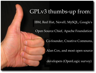 The GNU GPLv3 gains acceptance