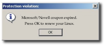 Novell coupons warning