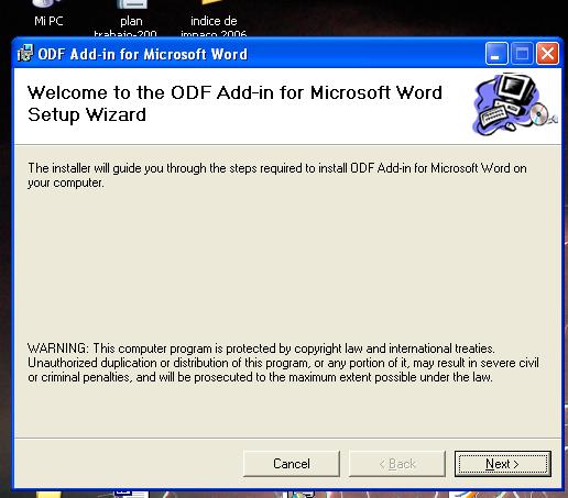 Microsoft's ODF installer