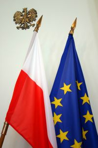 EU and Polish flag