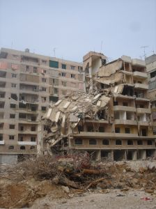 Crushed building
