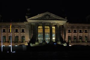 German parliament building at night
