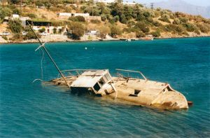 Sunken ship in Souda, Crete