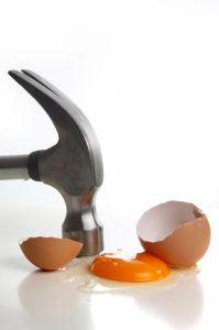 Hammer on egg