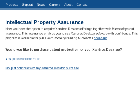 Xandros patent protection sale