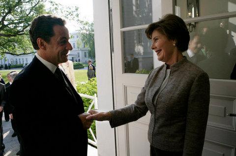 Bush and Sarkozy