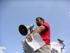 The leader with  megaphone