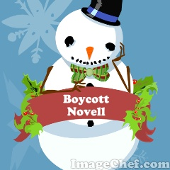 Snowman with Novell sign