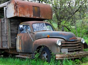 Old rusty abandoned truck