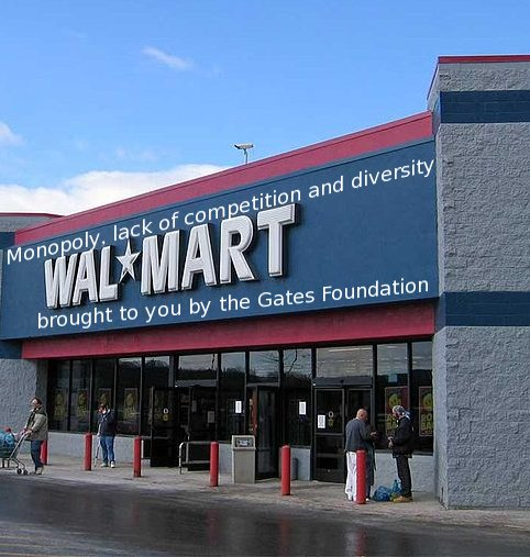 Walmart exterior - Monopoly, lack of competition and diversity; brought to you by the Gates Foundation
