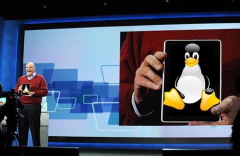 HP Slate - Steve Balmer holds GNU/Linux
