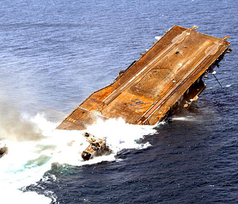 USS Oriskany is sinking