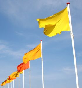 Yellow flagpoles