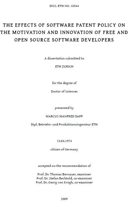 Effects of Software Patent Policy on the Motivation and Innovation of Free/Libre and Open Source Developers
