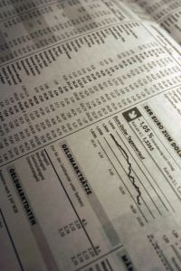 Stocks in newspaper
