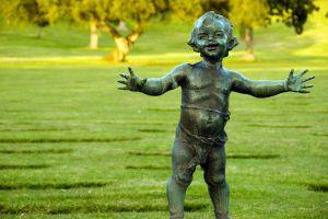 Bronze babyland statue