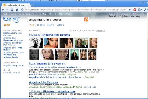 Angelina Jolie pictures in Bing