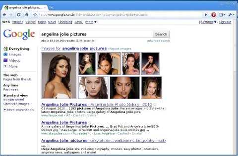 Angelina Jolie pictures in Google