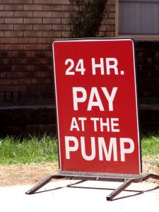 Sign - pay at the pump