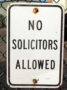 No solicitors allowed