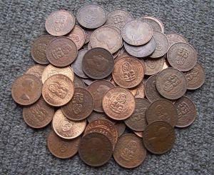 Half penny coins