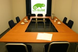 Conference room with OpenSUSE