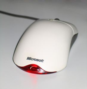 Mouse with Microsoft logo