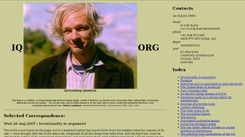 Julian Assange homepage