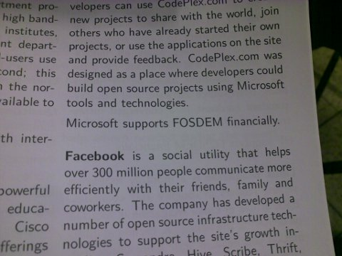 FOSDEM advertises Microsoft - flyer