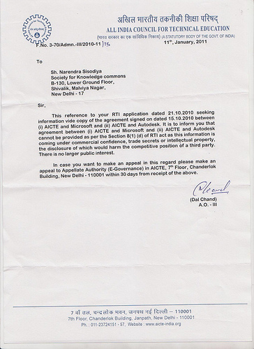 AICTE&#039;s letter to Narendra Sisodiya