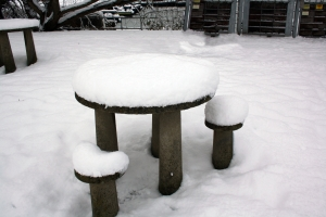 Snowy bench