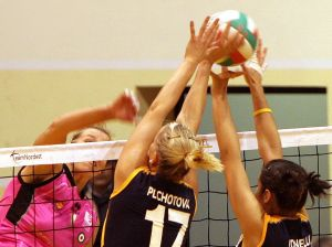 Girls above net
