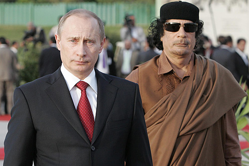 Vladimir Putin with Muammar Gaddafi