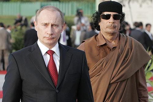 Vladimir Putin with Muammar Gaddafi