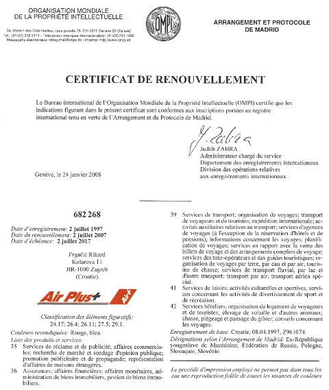 Air Plus WIPO certifikat