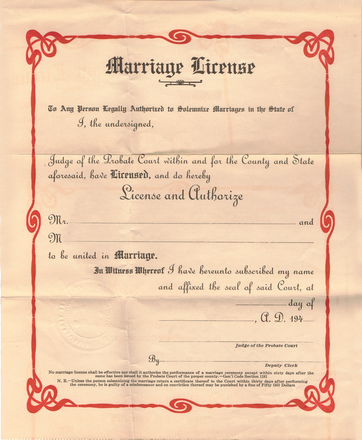 Vintage marriage license