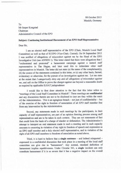 Harassment letter