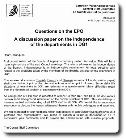 Questions to EPO