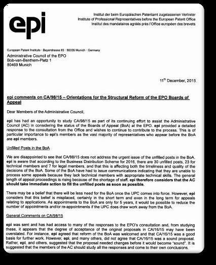 EPI letter