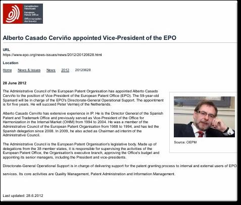 Casado Cerviño's appointment
