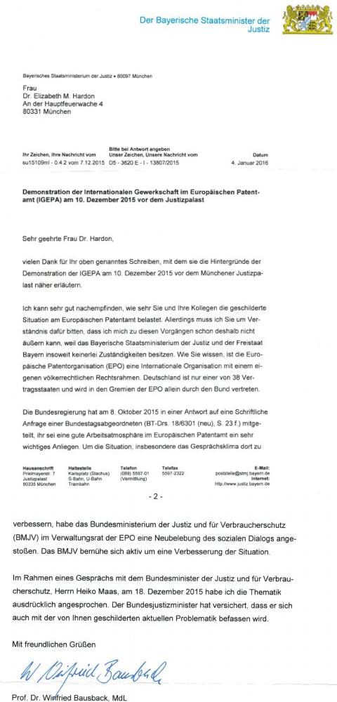 Prof. Dr. Winfried Bausback letter