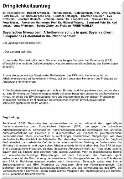 Bavarian Parliament motion