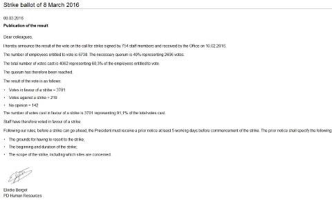 Bergot letter on strike