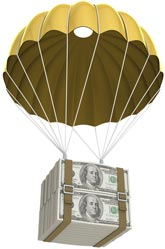 Golden parachute with money