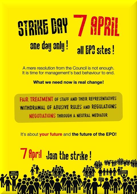 EPO strike banner