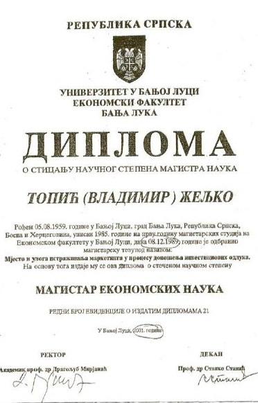 Topić's certificate