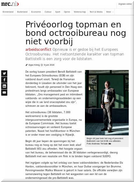Battistelli in Dutch media