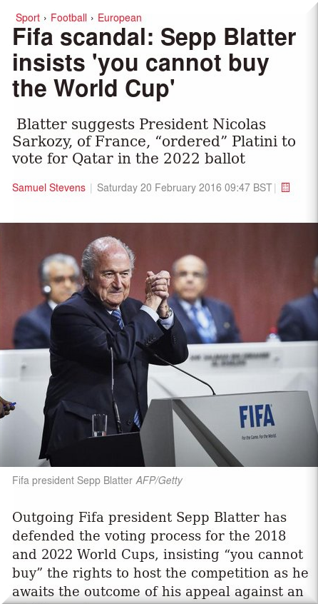 Blatter buying World Cup the media
