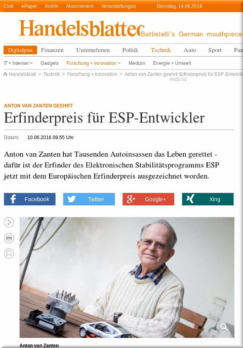 Battistelli in Handelsblatt