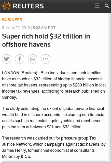 Reuters on tax havens